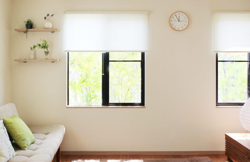 窓から見える緑の風景